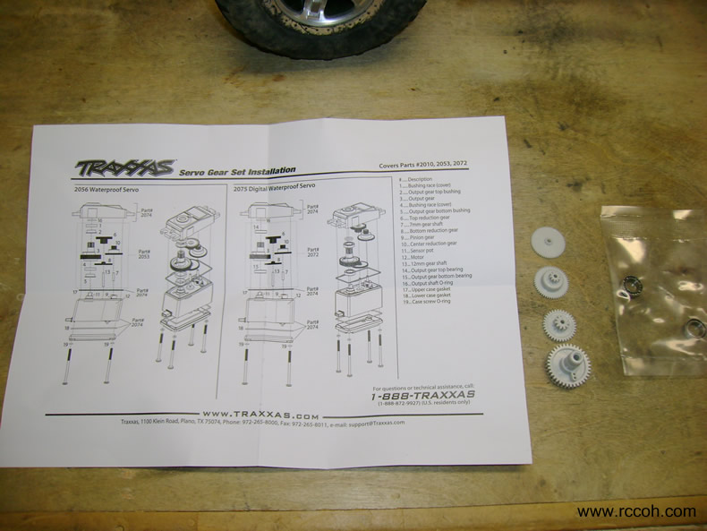 Instructions for servo gears